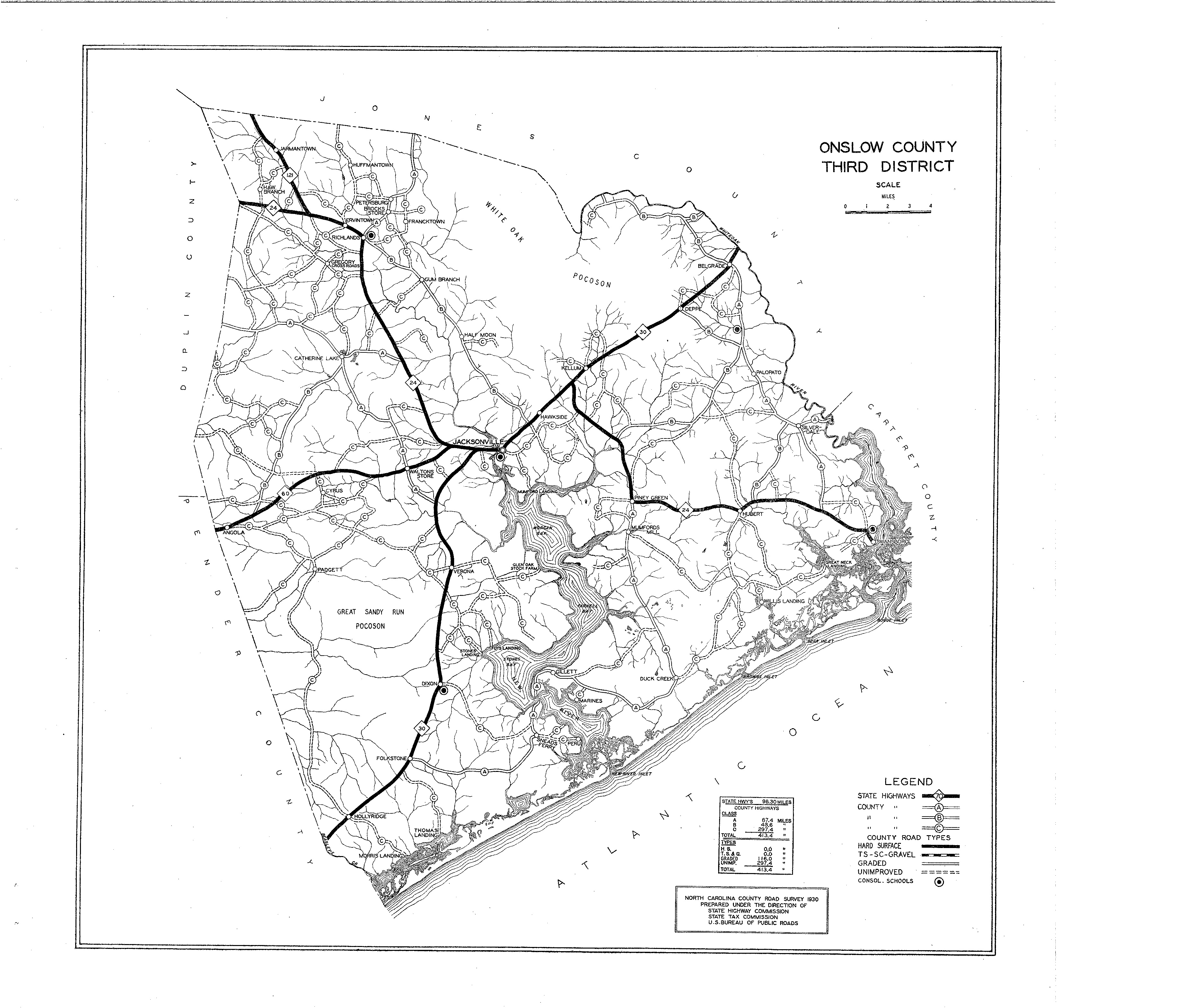 Onslow County Maps - North carolina road map