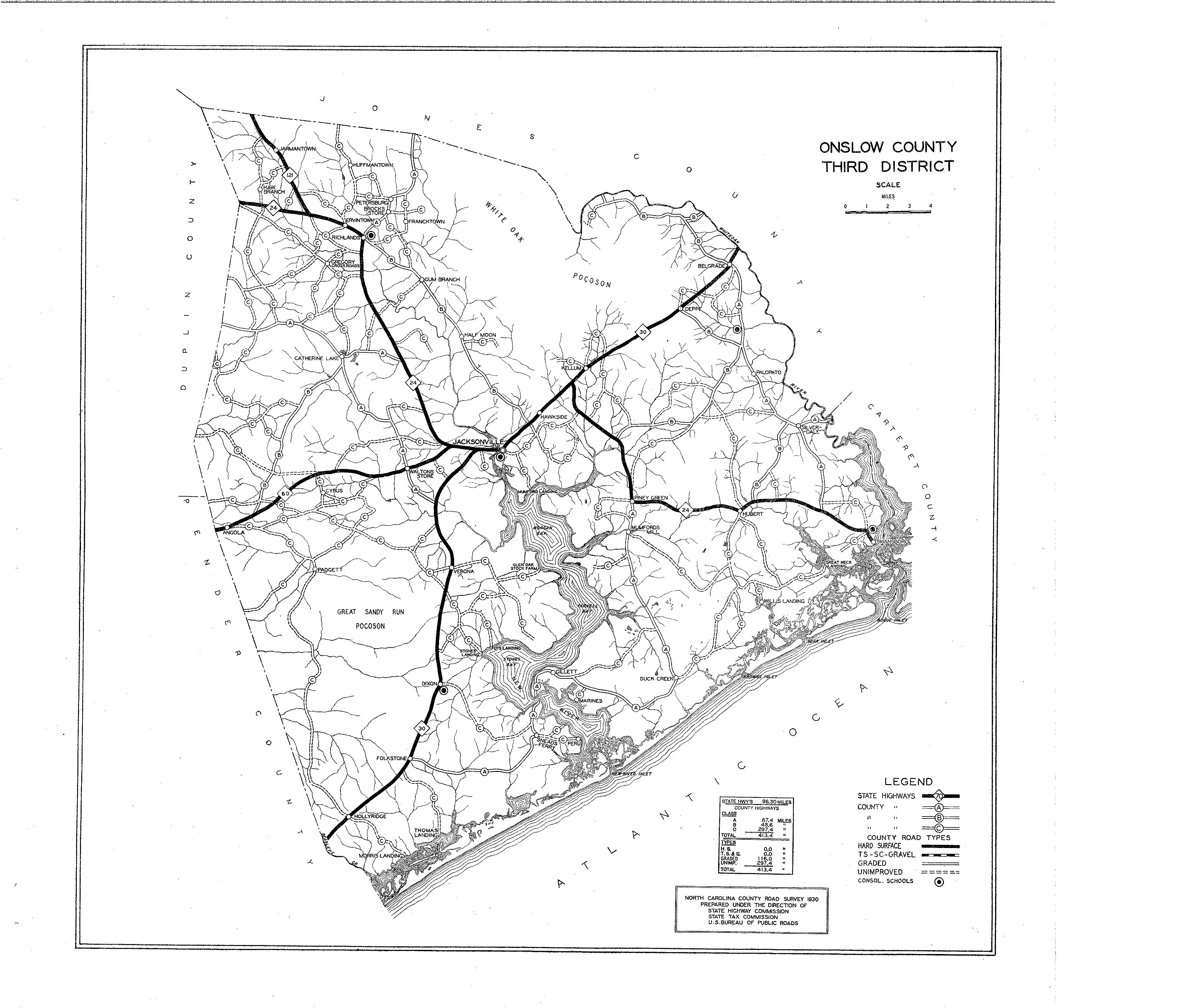 Onslow County Maps - North carolina road map